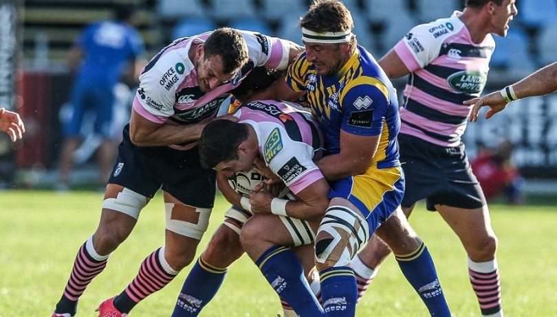 Guinness PRO12, Stadio Sergio Lanfranchi, Parma, Italy 24/9/2016 Zebre vs Cardiff Blues Cardiff's Sam Warburton tackled by Derick Minnie of Zebre Mandatory Credit ©INPHO/Giuseppe Fama