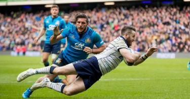 RBS 6 Nations Championship Round 5, BT Murrayfield, Scotland 18/3/2017 Scotland vs Italy Scotland's Tommy Seymour scores a try Mandatory Credit ©INPHO/Morgan Treacy