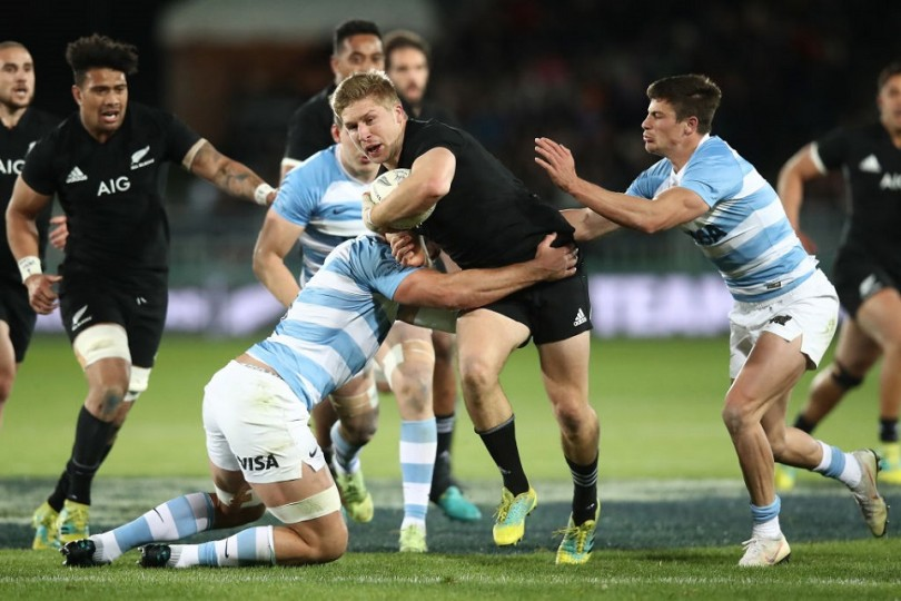 during The Rugby Championship match between the New Zealand All Blacks and Argentina at Trafalgar Park on September 8, 2018 in Nelson, New Zealand.