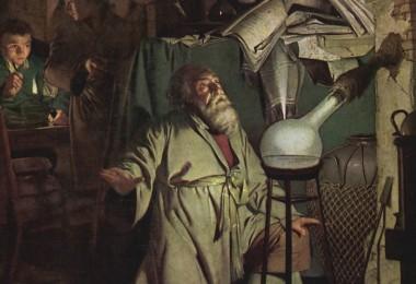 Alchimia-Vecchio-alchimista-e-apprendista-in-laboratorio